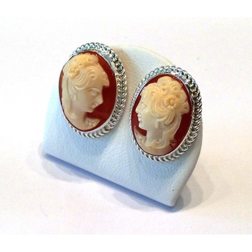 Old Cameo Earrings Silver