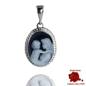 Mother and Baby Cameo Jewelry Blue necklace