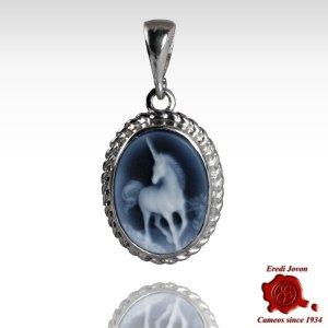 Cammeo Unicorno Ciondolo Blu