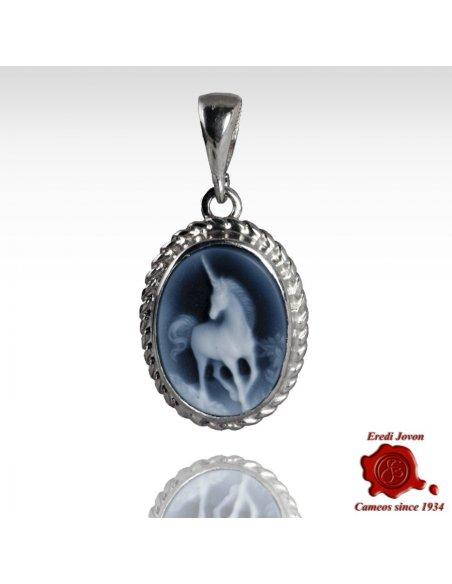 unicorn cameo blue agate