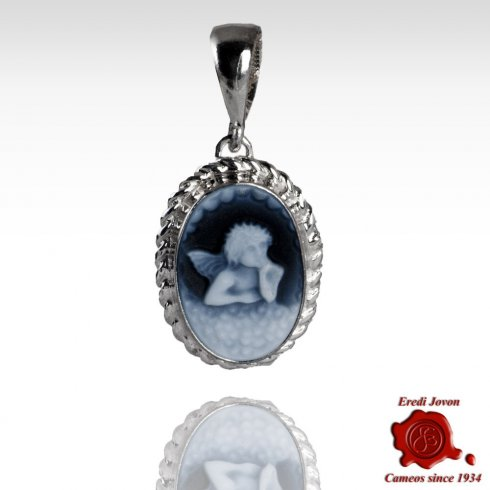 Guardian Angel Blue Cameo Necklace