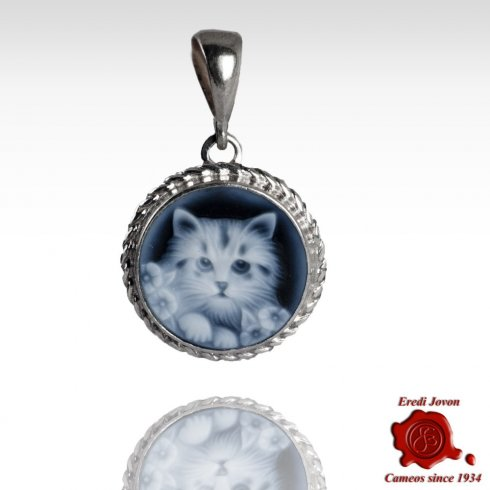 Blue Cameo Kitty Cat