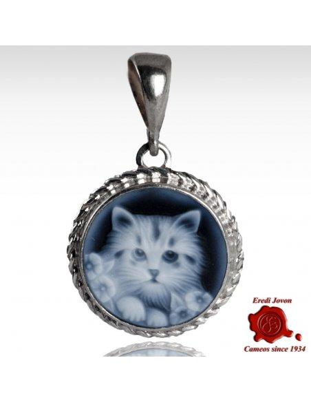 Cammeo Gatto Ciondolo Blu