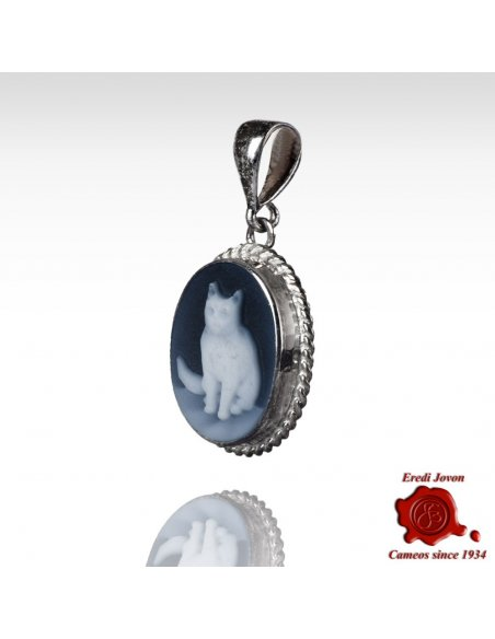 Cat Cameo Blue Agate Necklace