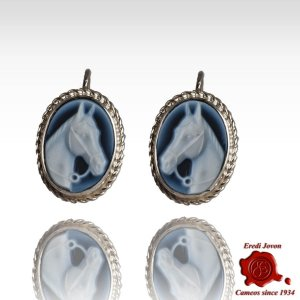 Earrings with Horse blue cameo in silver