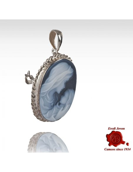 Cameo Holy Virgin Mary Brooch