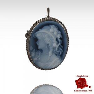 Angelica spilla cammeo blu argento