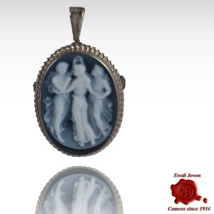 3 Graces blue cameo brooch silver