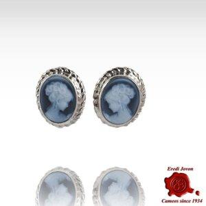 Cameo Blue Agate Studs Earrings Venice