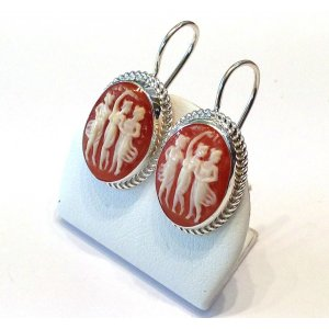 Shell cameo 3 Graces silver earrings
