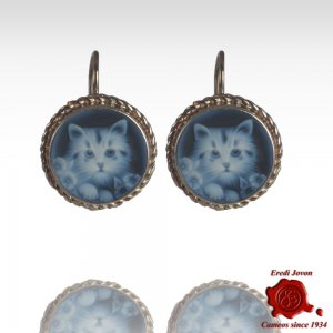 Blue cat cameo earrings silver