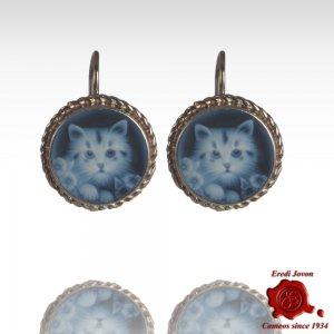 Gatto orecchini cammeo blu