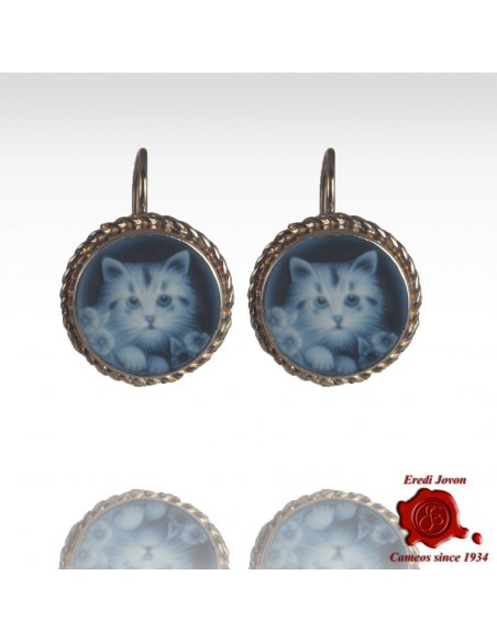 Silver Cat Cameo Earrings