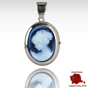 Blue Cameo Locket Lady