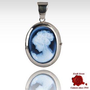 Lady Venice locket blue cameo necklace