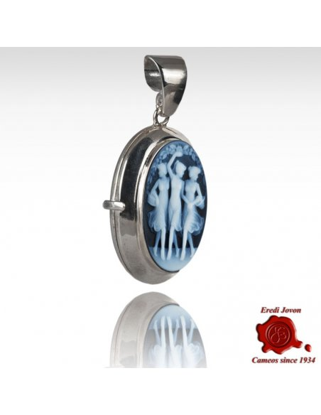 Three Graces Blue Cameo Locket