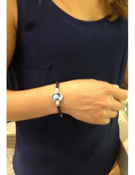 Silver Blue Cameo Bracelet Clasp