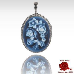 Fiore spilla cammeo blu argento