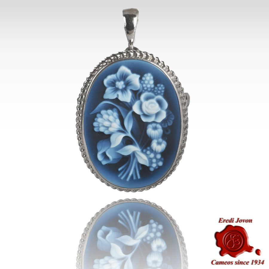 Flower cameo bouquet blue agate brooch pendant jewelry jovon blue agate first quality cameo brooch and pendant sterling silver setting in the venetian style representing different kind of flower in the bouquet izmirmasajfo