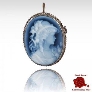 Angelica spilla cammeo blu...