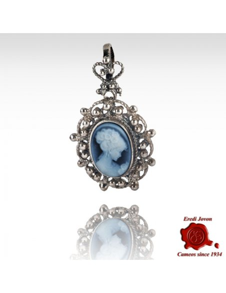 Venice Blue Cameo Filigree Pendant