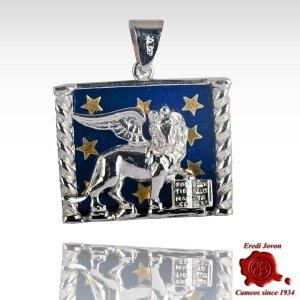 Saint Mark Lion Starry Enamel On Silver Medallion