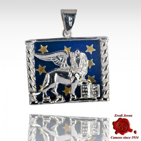 Saint Mark Lion Starry Enamel On Silver Medallion
