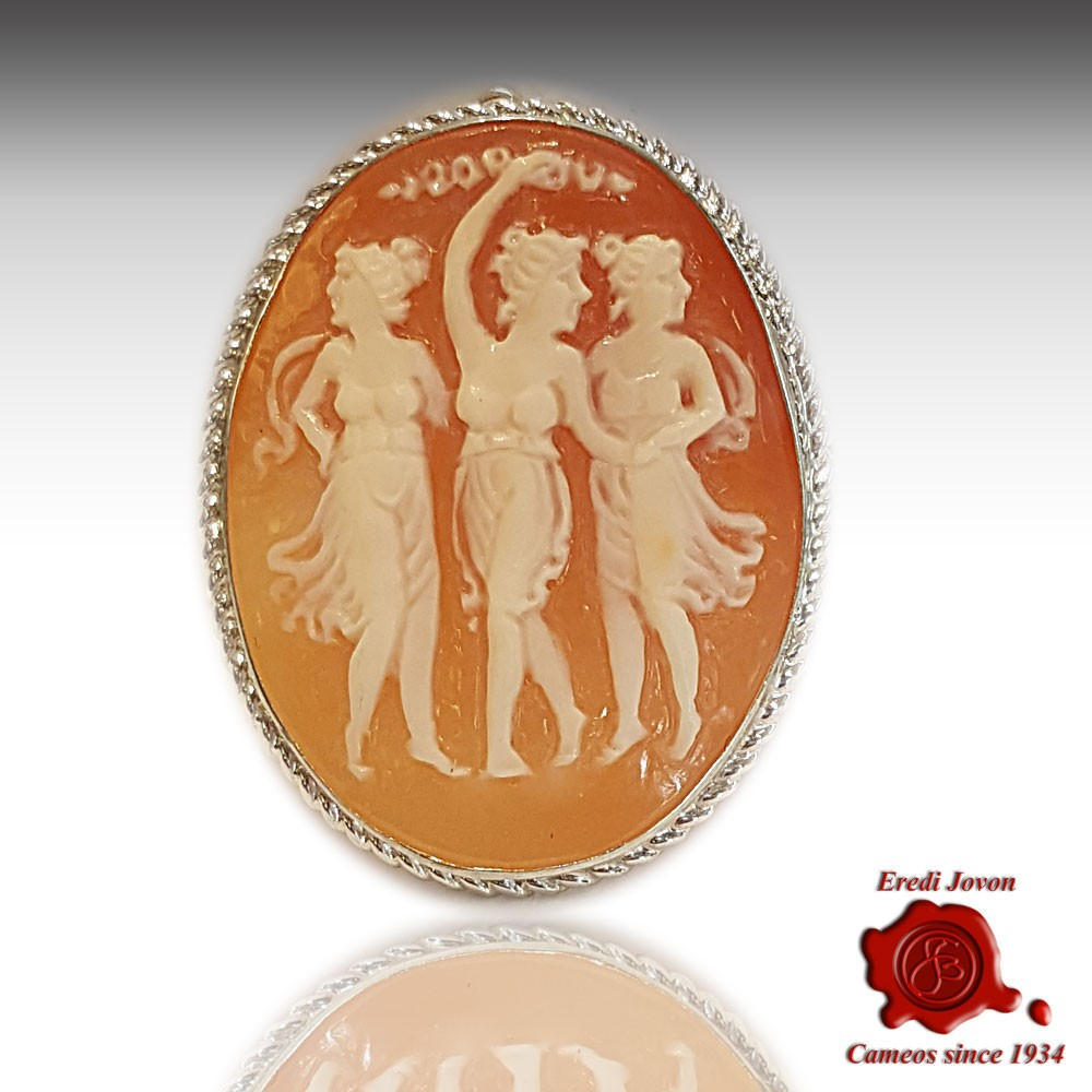 Three graces cameo jewelry in shell buy online jovon cameo 3 graces brooch silver aloadofball Image collections