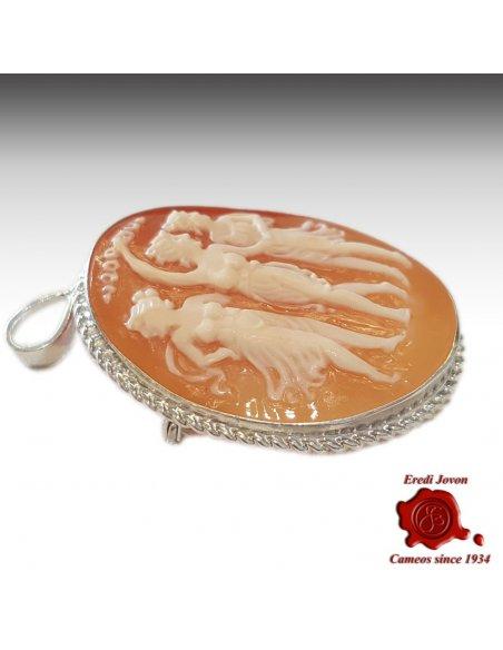 Cameo 3 Graces Brooch silver