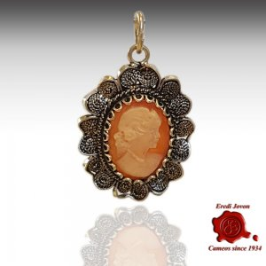 Filigree Shell Cameo Pendant