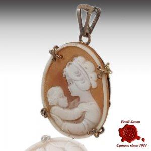Mamma con bambino cammeo conchiglia argento