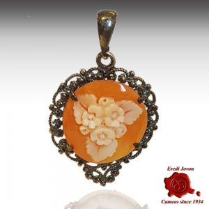 Flower Filigree silver cameo burnished