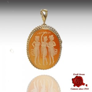 3 Graces shell cameo silver necklace