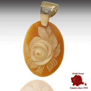 Rose Flower Siver Cameo Pendant