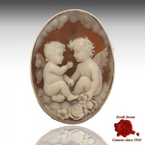 Angel Guardian Engraved Shell Italian Cameo
