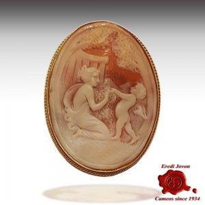 Venus and Cupid Antique cameo brooch