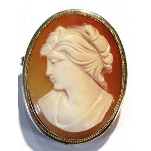 Art Deco Silver Shell Cameo Brooch