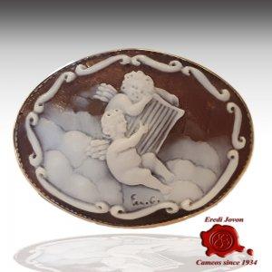 Angel Cherubins Engraved Shell Italian Cameo