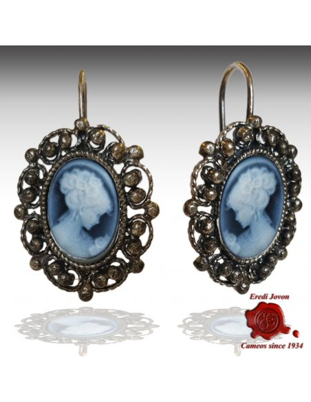 Blue Cameo Filigree Earrings