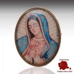 Guadalupe Ritratto Miniatura Dipinta in Argento