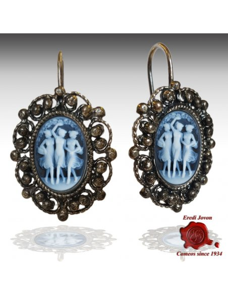Three Graces Cameo Filigree Earrings