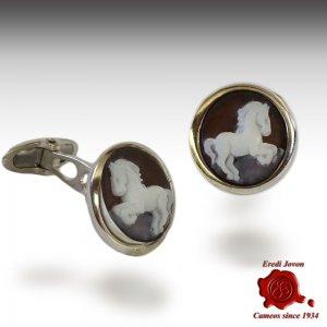 Cameo horse cufflinks silver