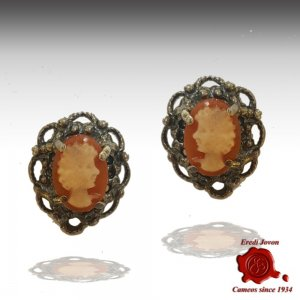 Filigree Silver Cameo Earrings