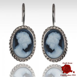 Venice blue cameo earrings dangle
