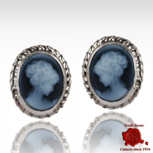 Cameo Blue Agate Studs Earrings Venice