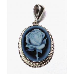 Rose Blue Cameo Pendant Silver