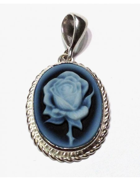 Blue Cameo Flower Silver Pendant