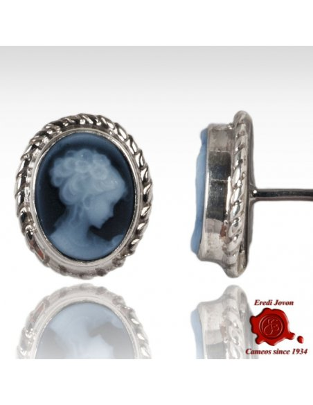 Blue Agate Cameo Earrings Venice