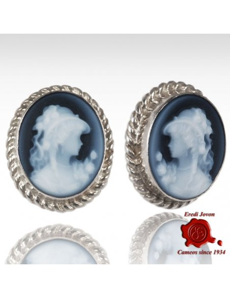 Blue Cameo Earrings Studs