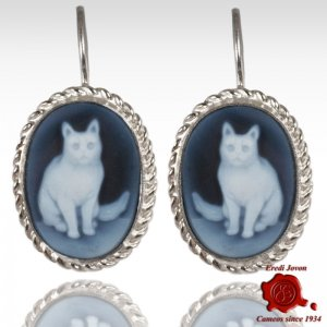 Cat Cameo Earrings Silver
